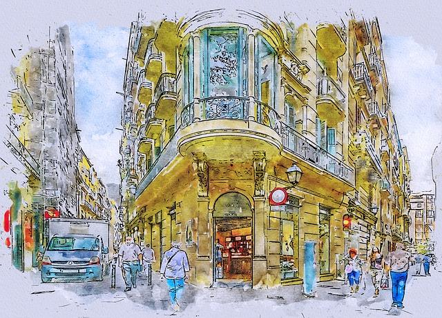 ilustracion barrio gotico apartamentos barcelona